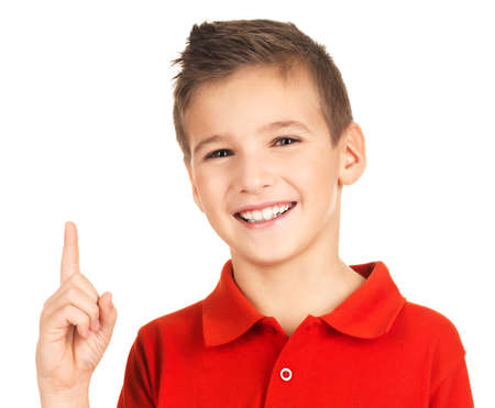 Portrait of cheerful boy with good idea -  isolated over white background Stock Photo - 16578427