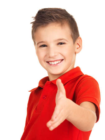 Portrait of smilingboy showing handshake gesture, isolated over white background photo
