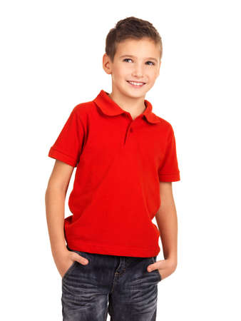 one little boy: Young pretty boy posing at studio as a fashion model. Photo of preschooler 8 years old over white background Stock Photo