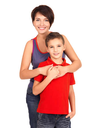 8 9 years: Portrait of a happy young mother with son 8 year old over white background Stock Photo