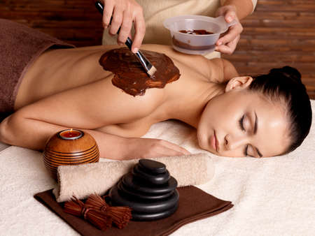 spa therapy: Spa therapy for young woman receiving cosmetic mask on back at beauty salon Stock Photo