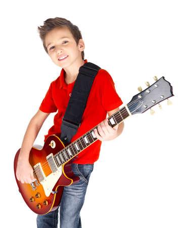 m�sico: Retrato de un ni�o peque�o con una guitarra el�ctrica - aislados en fondo blanco Foto de archivo