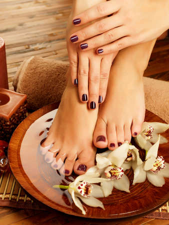 manicure salon: Closeup photo of a female feet at spa salon on pedicure procedure. Female legs in water decoration  the flowers.