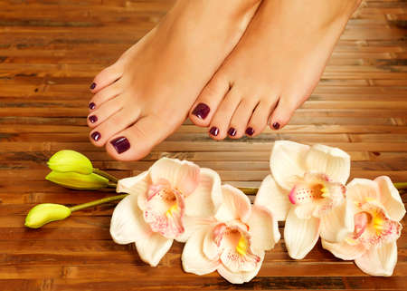 toenail: Closeup photo of a female feet at spa salon on pedicure procedure - Soft focus image