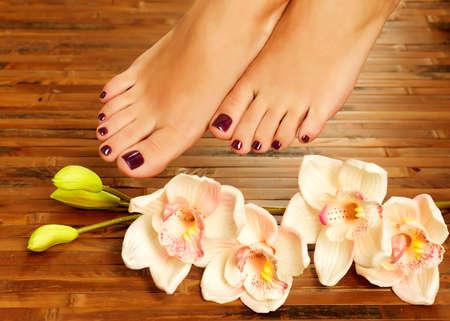 jolie pieds: Photo Gros plan d'un pied féminin au salon de spa sur la procédure de pédicure - image Flou Banque d'images