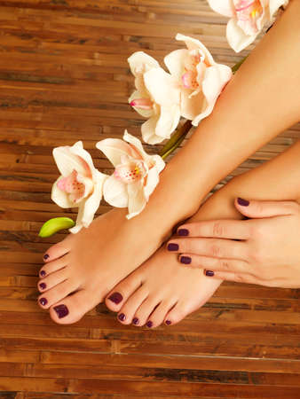 manicure and pedicure: Closeup photo of a female feet at spa salon on pedicure procedure - Soft focus image