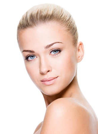 nude blonde woman: Beautiful face of a woman with clean skin - white background Stock Photo