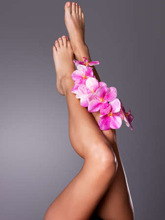 Beautiful long female legs with flower. Beauty treatment concept photo