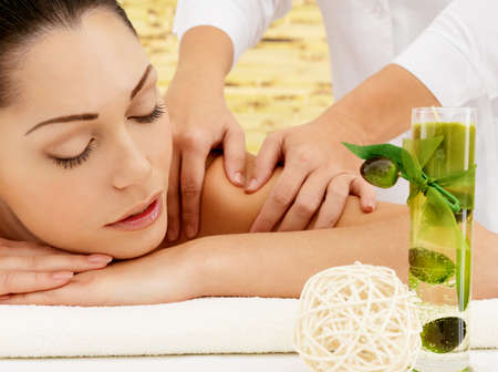 Woman on spa massage of body in the beauty salon.  Stock Photo - 17853344
