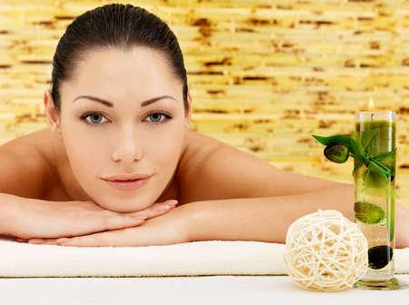 Smiling beautiful woman at beauty spa salon looking at camera Stock Photo - 17853381