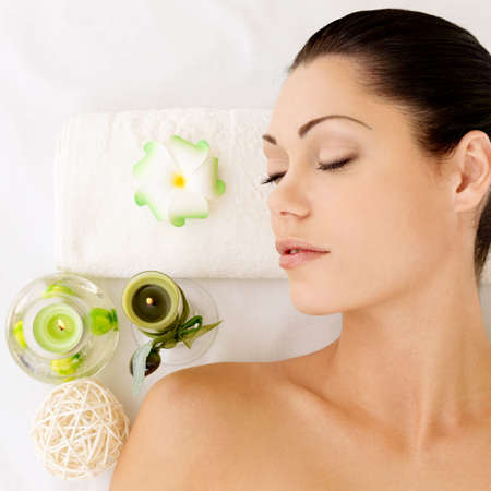 Relaxing white woman at beauty spa salon. Recreation therapy. Resting female with closed eyes Stock Photo - 17853308