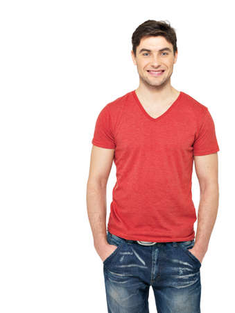 red tshirt: Portrait of smiling happy handsome man in casuals red t-shirt - isolated on white background