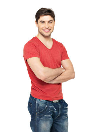 Portrait of smiling happy handsome man in casuals red t-shirt - isolated on white background  photo