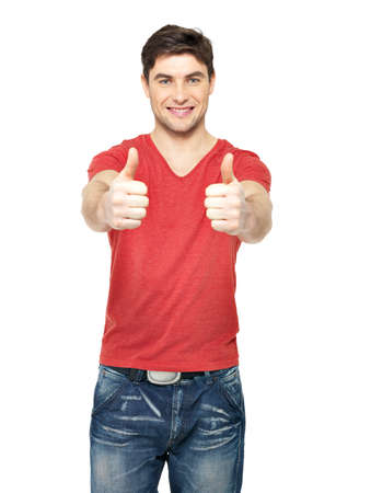show of hands: Adult happy man with thumbs up gesture in casuals isolated on white background. Stock Photo