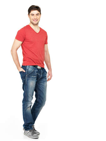 casuals: Full portrait of smiling happy handsome man in red t-shirt casuals  isolated on white background. Beautiful young guy posing