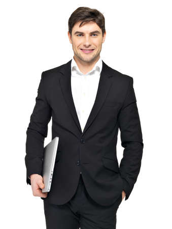 laptop stand: Portrait of young happy businessman holds laptop  isolated on white. Concept communication.