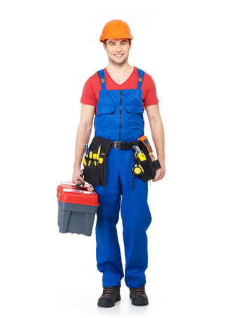 Handyman with tools full portrait over white background photo