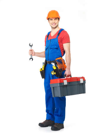 Worker with tools full portrait over white background Stock Photo - 18629013