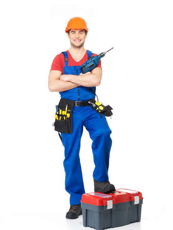 Handyman with tools full portrait over white background Stock Photo - 18629008