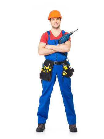 Handyman with tool drill and brush  full portrait over white background Stock Photo - 18628997