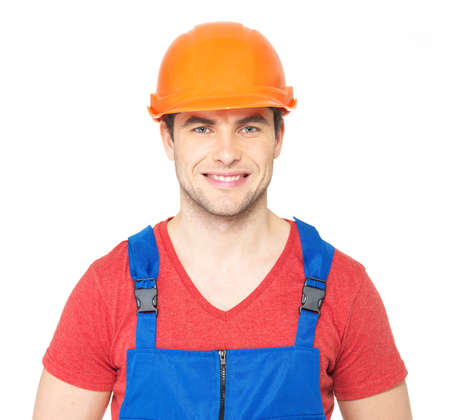 Closeup portrait of happy worker in uniform isolated on  white background Stock Photo - 18629138