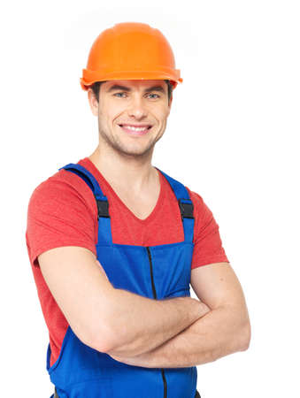 Closeup portrait of happy worker in uniform isolated on  white background photo