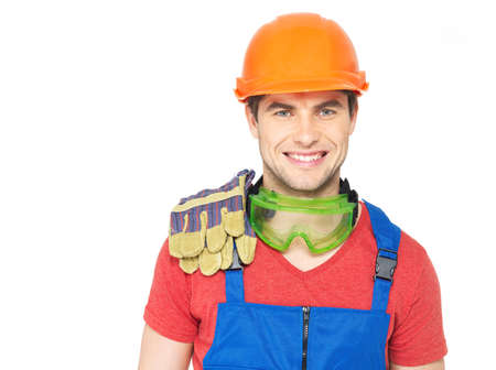Closeup portrait of happy worker in uniform isolated on  white background Stock Photo - 18629155