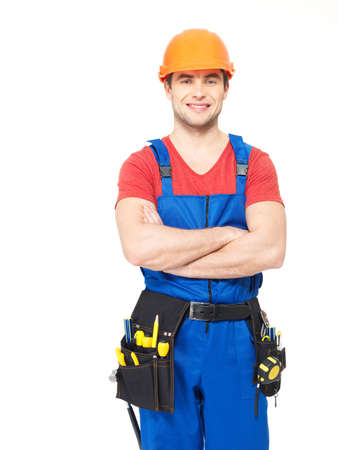 Portrait of smiling manual worker with tools isolated on  white background Stock Photo - 18629108