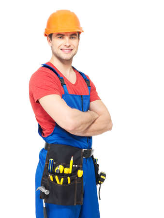 Portrait of smiling manual worker with tools isolated on  white background Stock Photo - 18629080
