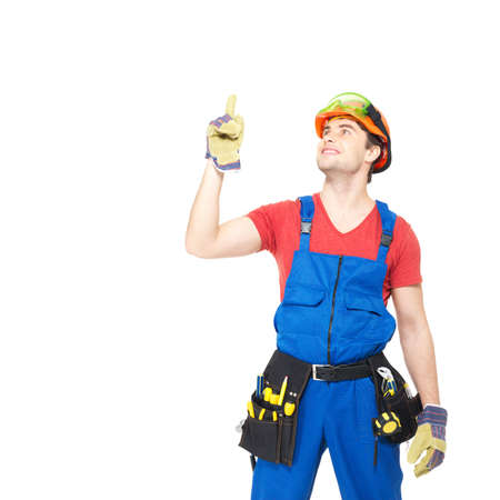 Worker with tools   points up with finher  isolated on  white background Stock Photo - 18629029