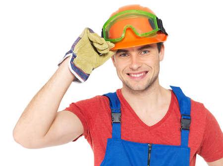 Closeup portrait of happy handyman in uniform isolated on  white background Stock Photo - 18629177