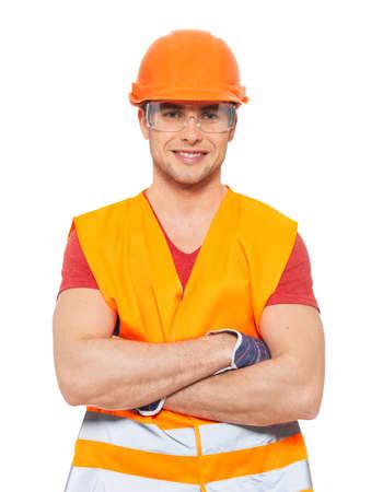 workmen: Closeup portrait of happy handyman in uniform isolated on  white background Stock Photo