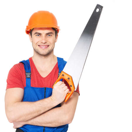 Portrait of smiling manual worker with saw isolated on  white background photo
