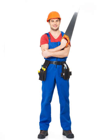 Smiling handyman with saw full portrait over white background Stock Photo - 18629006