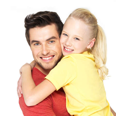 dad daughter: Portrait of the happy young father with pretty daughter -  isolated on white background
