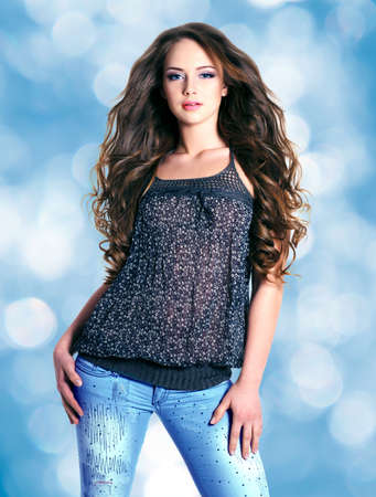 long hairs:  beautiful young woman  with long curly hairs
