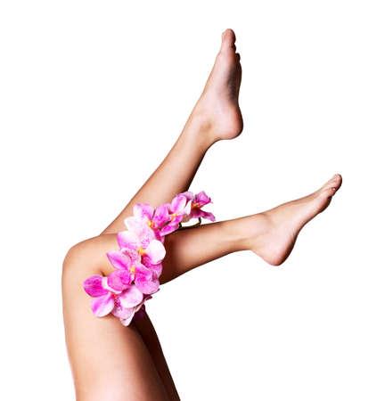 tratamientos corporales: Hermosas piernas largas femeninas con la flor. Belleza concepto de tratamiento Foto de archivo