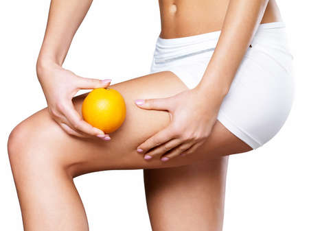 cellulite: Female squeezes cellulite skin on her legs - close-up shot on white background