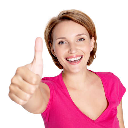 thumbs up: Portrait of a beautiful adult happy woman with thumbs up sign over white background Stock Photo