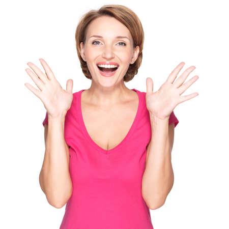 cara sorprendida: Hermosa mujer sorprendida feliz con las emociones positivas - aislados en fondo blanco