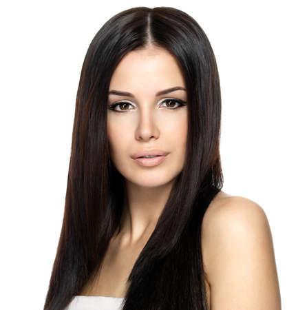 schwarze frau nackt: Sch�ne Frau mit langen glatten Haaren. Fashion Model posiert im Studio.