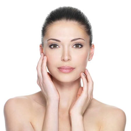 beautiful skin: Adult woman with beautiful face - isolated on white. Skin care concept.