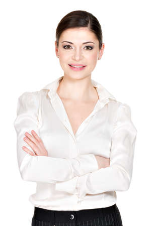 white shirt: Young beautiful smiling woman in white office shirt - on white background