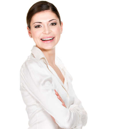 Young beautiful happy woman in white office shirt - on white background Stock Photo - 22581859