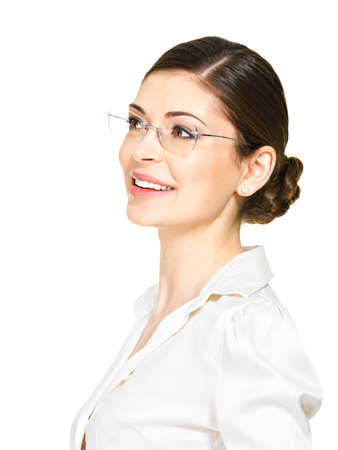 Portrait of the beautiful happy young  woman in glasses and white office shirt- isolated on white background  photo