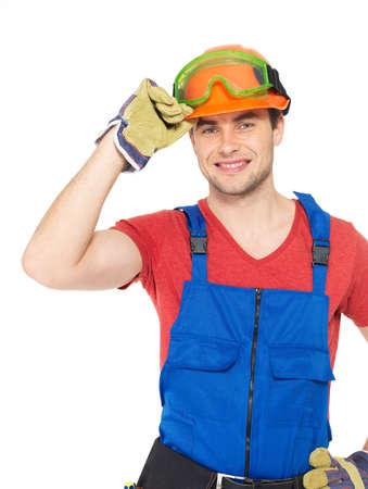 Closeup portrait of happy handyman in uniform isolated on  white background Stock Photo - 22587371