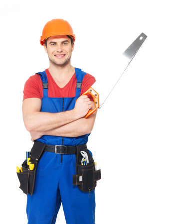 Smiling handyman with saw full portrait over white background photo