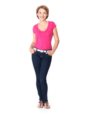 over white background: Full portrait of a beautiful young happy woman standing over white background Stock Photo