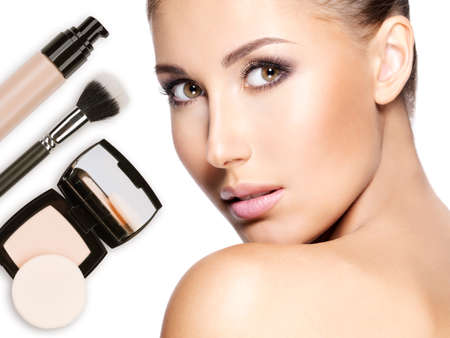 Model face of beautiful woman with foundation on skin make-up cosmetics .   Stock Photo - 23271805