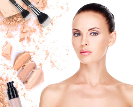Model face of beautiful woman with foundation on skin make-up cosmetics .   Stock Photo - 23271806